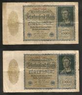 DEUTSCHLAND - Weimarer Republik - 10000 Mark (Berlin 1922) LOT Of 2 BANKNOTES - 10000 Mark