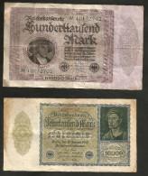DEUTSCHLAND - Weimarer Republik - 10000 & 100000 Mark (1922 / 1923) LOT Of 2 BANKNOTES - [ 3] 1918-1933 : Repubblica  Di Weimar