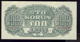 REPUBLIKA CESKOSLOVENSKA   100 KORUN  UNC     SPECIMEN     00 360918 - Tschechoslowakei
