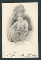 Très Belle Illustration. Jolie Femme Au Grand Chapeau,  Avec Cochon,  Trèfle, Fer à Cheval... BKW. I.  N°2505. - 1900-1949