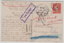 00238p France Amiens 1916 V.Munich étiq.inconnu Gff Retour + Retour à L´envoyeur - 1906-38 Semeuse Camée