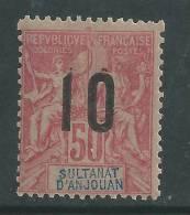 Anjouan N° 28 X Type Groupe Surchargé : 10 Sur 50 C. Rose, Trace De  Charnière Sinon TB