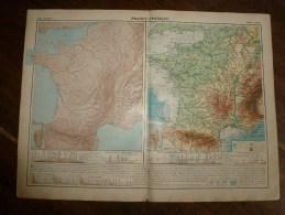 1913 Cartes Géographiques Ancienne (FRANCE Physique,FRANCE Géologique, Massif Central) - Geographical Maps