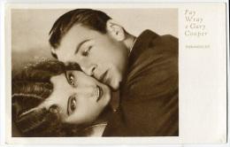 CARTOLINA FAY WRAY E GARY COOPER CINEMA ATTRICE ATTORE ACTRESS ACTOR PARAMOUNT FILM - Entertainers