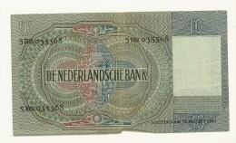 OLANDA - 10 GULDEN ANNO 1942 - BANK NOTE - QUALITY BB - [2] 1815-… : Royaume Des Pays-Bas