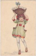 23709  Illustrateur S Bompard -418-4 Stampa Milano - Fillette Fille Enfant Panier Oeuf Sexy