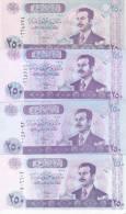 IRAQ 250 DINARS 2001 2002 P-88 LOT X 4 UNC DIFFERENT PAPER COLORS TYPES */*