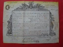 Empire: JACOPIN : Général En 1794 .Congé De Réforme : Infanterie 57ème Demi-brigade - Documentos Históricos
