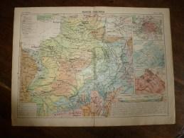 1913  Cartes Géographiques Ancienne ( Bassin Parisien, Région Du Nord Et De L´ Est , Massif Armoricain ) - Geographical Maps
