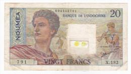 Banque De L'Indochine / Nouvelle Calédonie - 20 Fcs / NOUMEA / Signatures Roland-Billecart / Waitzenegger - Nouméa (New Caledonia 1873-1985)
