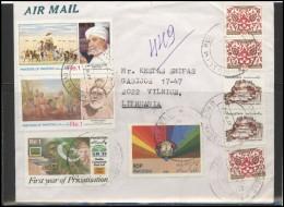 PAKISTAN Postal History Brief Envelope Air Mail PK 002 Painting Art Personalities Banking