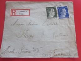 Deutsches Reich Allemagne IIIé Reich LEINEBURG Recommandé Timbre Effigie Hitler Censure GEOFFNET FLAGY/ Vesoul Hte Saone - Covers & Documents