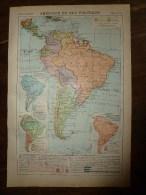 1913  Cartes Géographiques Ancienne ; AMERIQUE DU Sud Politique ; AUSTRALASIE - Geographical Maps