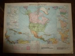 1913  Cartes Géographiques Ancienne ; AMERIQUE Du NORD Politique; AMERIQUE Du SUD Physique ; USA Partie EST - Geographical Maps