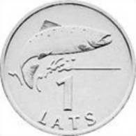 Latvia -1 LATS-FISH SALMON- LION & DRAGON  2007 Y- UNC - Lettonie