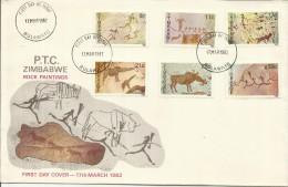 ZIMBABWE 1982 17 MARCH PTC ROCK PAINTINGS FDC FIRT DAY COVER - Zimbabwe (1980-...)