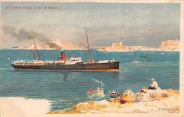 """¤¤   -   Illustrateur """" E. LESSIEUX """"  -  Départ D´un Transatlantique De Marseille  -  Paquebot   -  ¤¤ - Lessieux"""