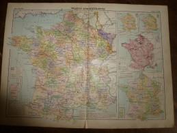 1913  Cartes Géographiques Ancienne ; FRANCE Administrative; FRANCE De L´ Agriculture ; FRANCE Chemins De Fer - Cartes Géographiques