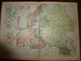 1913  Cartes Géographiques Ancienne ; RUSSIE D'Europe Et SCANDINAVIE ; ESPAGNE Et PORTUGAL ; AUTRICHE-HONGRIE - Geographical Maps