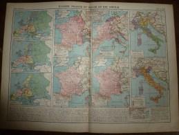 1913  Cartes Géographiques Ancienne ; EUROPE FRANCE Et ITALIE Au XIXe Siecle ; ALLEMAGNE Au XIXe Siecle ; FRANCE En 1789 - Geographical Maps