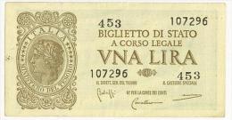 CARTAMONETA - 1 LIRA - ITALIA LAUREATA - DECR. 23 - 11 - 1944 - Q/FDS - BS. 18 - [ 1] …-1946 : Koninkrijk