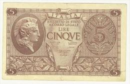 CARTAMONETA - # 082171 - 5 LIRE - ATENA ELMATA - DECR. 23 - 11 - 1944 - B - BS. 66 - [ 1] …-1946 : Kingdom