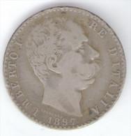 ITALIA 2 LIRE 1897 UMBERTO I AG SILVER - 1861-1946 : Regno