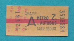 TICKET DE METRO TITRE DE TRANSPORT PARIS - Métro