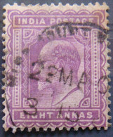 BRITISH INDIA 1902 8as King Edward VII Used - India (...-1947)