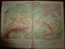 1913  Cartes Géographiques Ancienne ; EUROPE CENTRALE Physique; ALLEMAGNE ; BELGIQUE, PAYS-BAS, SUISSE ; - Geographical Maps