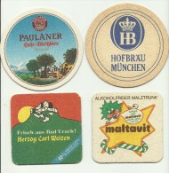 4 Alte Bierdeckel Aus Deutschland - Beer Mats