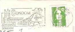 CACHET OBLITERATION FLAMME CONDOM EN ARMAGNAC MOUSQUETAIRE  ENVELOPPE 16X11 - 1961-....