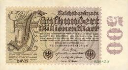 Deutschland, Germany - 500 Mio. Mark, Reichsbanknote, Ro. 109 F,  ( Serie BW ) XF ( II ), 1923 ! - [ 3] 1918-1933 : Weimar Republic