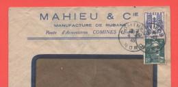 Comines 1946 Entête: Mahieu & Cie Manufacture De Rubans - Marcophilie (Lettres)