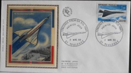 1 ENVELOPPE 1er JOUR 1969 - 1er Vol Du Concorde - Toulouse  Le 2 Mars 1969 - Y&T 9€ - 1960-1969