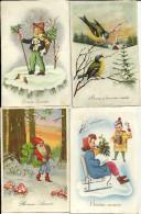 BONNE ANNEE  Avec Mesanges, Petit Garço,;  Traineau Et Lutin  ... .4 Cartes.. De  1952 A 1953 ...... - Nouvel An