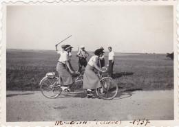 AISNE,PICARDIE,MONCEAU SUR OISE EN 1937,chasseur,vélo Tandem,paysan,rare
