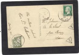 Yvert  171 Pasteur -  Cachet Perlé BARZY 1925 Aisne Sur Taxe  Sur Carte Postale Prière Des Jeunes Filles à Marier - Marcophilie (Lettres)