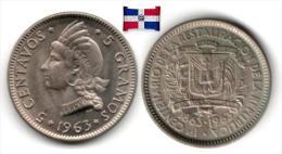 République Dominicaine - 5 Centavos 1963 (UNC) - Dominicana