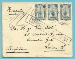 164 (x3) Op Brief Per EXPRES Met Stempel BRUXELLES Naar LONDON (G.B.) Met Stempel EXPRESS FREE PAID - Belgique