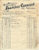 RARE FACTURE ENTETE MANUFACTUREDE CHAOEAUX DE PAILLE FRANCOIS CAVAILLE SEPTFONDS T& Garonne 1900 V. SCANS + HISTORIQUE - France