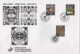 ONU - UNO (1995) - FDC -   /  Social Summit - Sommet Social - Sozialgipfel - Paintings - ONU