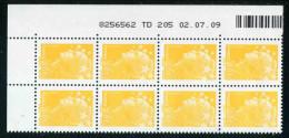 """Bloc** De 8  Timbres """"0,01 € - Type Beaujard - Phil@poste"""" Avec Date  02 . 07 . 09 - 2000-2009"""