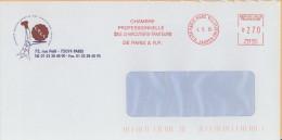EMA R 51269 Paris Parc Villette 75 + Flamme Chambre Prof Charcutiers Traiteurs Paris Sur Env Chambre Pro - Tour Eiffel - EMA ( Maquina De Huellas A Franquear)