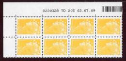 """Bloc** De 8  Timbres """"0,01 € - Type Beaujard - Phil@poste"""" Avec Date TD 205  03 . 07 . 09 - 2000-2009"""