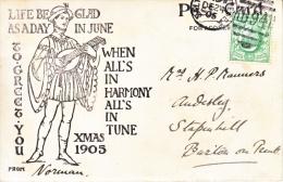 Great Britian  CHRISTMAS  VIEW  POSTAL  CARD  1905 - 1902-1951 (Kings)