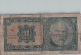 Billet 20 KORUN TCHECOSLOVAQUIE  -  Scans Recto-verso - Tchécoslovaquie