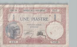 Billet 1 Piastre INDOCHINE -  Scans Recto-verso - Indochina