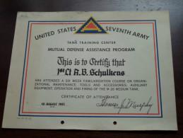 Tank Training Center  ( Zie Foto Voor Details )!st Lt A.B.SCHULKENS 10/8/1951 Certificate U.S. SEVENTH ARMY ( Zie Foto ) - Diploma & School Reports