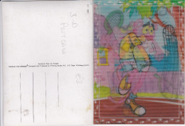 PINK PANTER-TENNIS-3 D CARD-PLASTIC POSTCARD-TOPPAN TOP-STEREO-1987-U.A.PICTURES INC-PRINTING STUDIO-ZURICH-TOP! ! ! - Cartes Postales